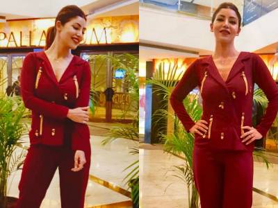 Debina Makes A Red Smokin' Appearance In Yet Another Pant Suit!