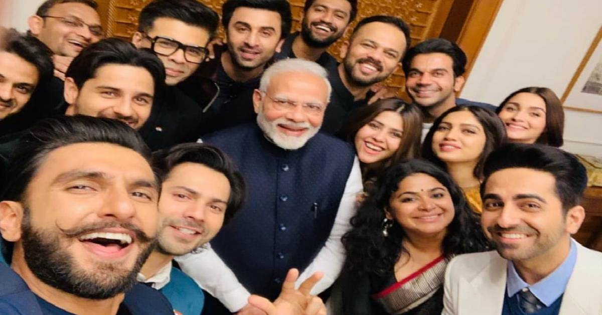 Ranveer Singh, Ranbir Kapoor, Alia Bhatt, Varun Dhawan And Others Come Together For A Star Studded Selfie With PM Narendra Modi!